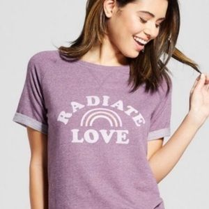 Radiate Love Sweat T-Shirt Dusty Purple & Rainbow